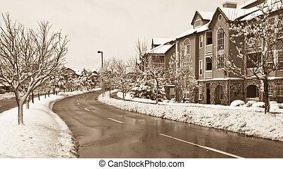 Winter street - Urban street in winter.