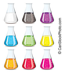 chemistry flask collection - Science chemistry flask in a...