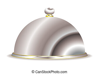 Serving cloche - Silver food serving cloche with gold trim