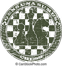 Chess emblem in the form of a stamp
