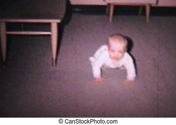 Baby Commando Crawling 1964 - A cute little baby boy doing...