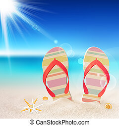 Flip-flops and shells on the beach
