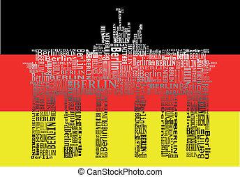 Brandenburg gate - abstract Brandenburg gate with words...