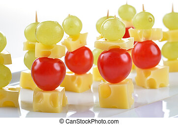 Cheese skewer - Bavarian cheese with cherry tomatoes and...
