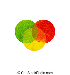 3 intercrossed circles - 3 colored maple Leaves in the shape...
