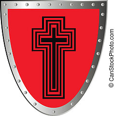 Shield - Red shield with cross isolated on white background...