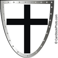 Templar shield with cross isolated on white background