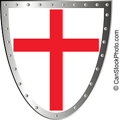 Shield with cross isolated on white background .