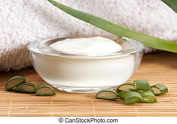 aloe vera - leaves and face cream - aloe vera - leaves and...