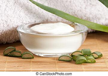 aloe vera - leaves and face cream - aloe vera - leaves and...