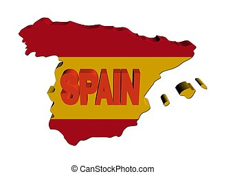 Spain map flag with text