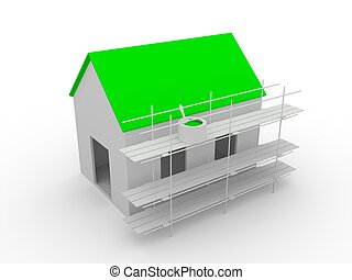 Home - A small house with a green roof