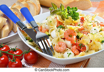 Italian pasta salad - Pasta salad with shrimps and...