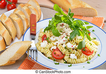 Italian noodle salad - Pasta salad with ricotta cheese and...