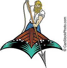 Whaler - Editable vector illustration of a man about to...