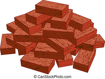 Bricks - Illustration of a stack of red bricks isolated on a...