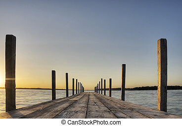 Boardwalk on Lake Okoboji in Iowa.
