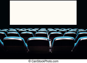 Empty blue seats in a cinema - Backs of empty blue seats in...