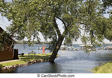 Lake Okoboji in Iowa in the Summer.