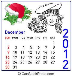 2012 year calendar in vector. December.
