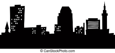 Cartoon Springfield Skyline - Cartoon skyline silhouette of...