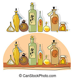 aromatherapy - yellow small bottles of essential oil