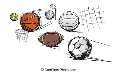 Balls for different kinds of sports: tennis-ball,...