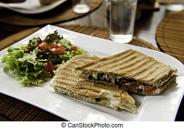 Veggie Panini - Grilled Vegetable Panini with Salad on a...