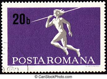 Javelin throwin on post stamp