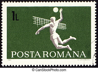 Volleyball on post stamp