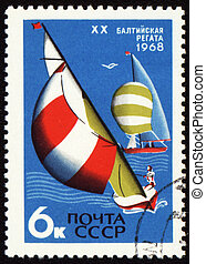 Baltic regatta on post stamp