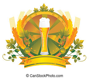 Beer mug in a vignette - Beer mug in a leaf vignette
