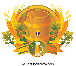 Beer a keg with a glass in a vignette