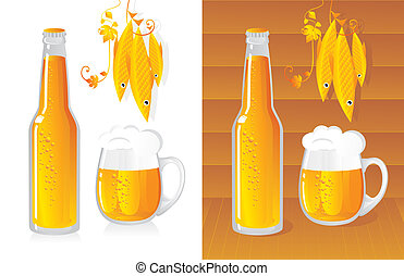 beer bottle and beer mug
