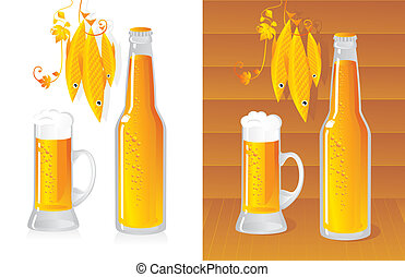 bottled beer - beer bottle and beer mug
