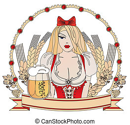 Oktoberfest - The girl in national German clothes with a...