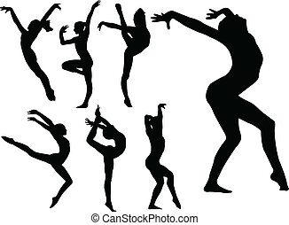 gymnastic girls silhouette - illustration of gymnastic girls...