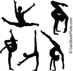 Gymnastik, flicka, silhuett