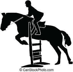 horse race silhouette - vector - illustration of horse race...