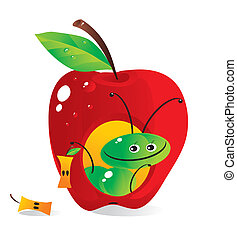 Small house-apple for a cheerful caterpillar