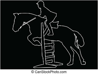horse race silhouette - vector