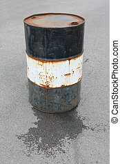 leaking oil drum - A rusty old leaking oil drum