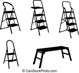 ladders collection - vector - illustration of ladders...