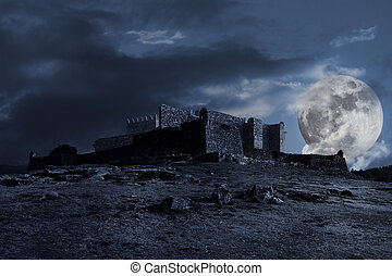 Medieval dark scenery with old castle, clouds and full moon...