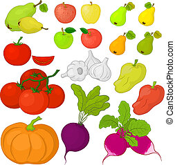 Vegetables and fruits, set - Vector, set: various vegetables...