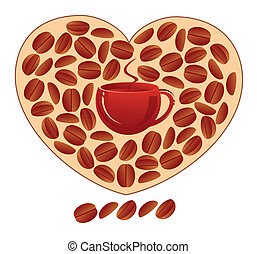 Heart with coffee grains and a coffee cup