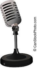 Vintage Microphone image on white background. Vector...