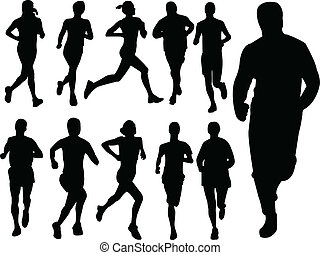 running people collection - vector - illustration of running...