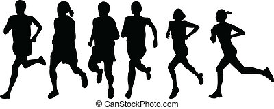 running women - vector - illustration of running women -...