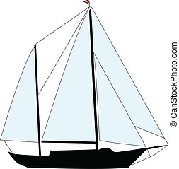 sailing boat - vector - illustration of sailing boat -...